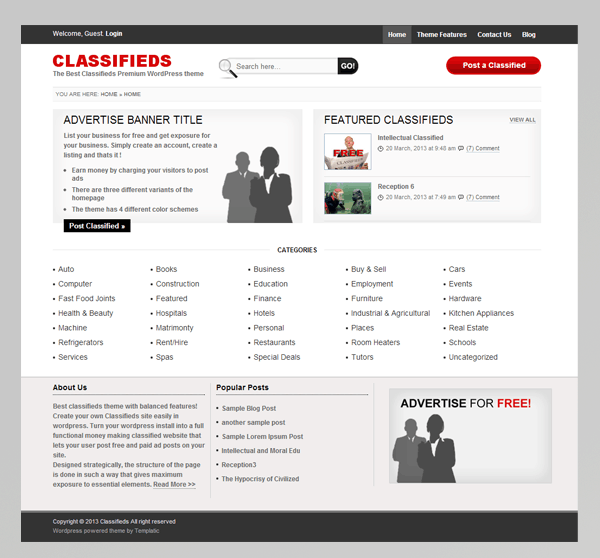 Templatic Classifieds WordPress Theme